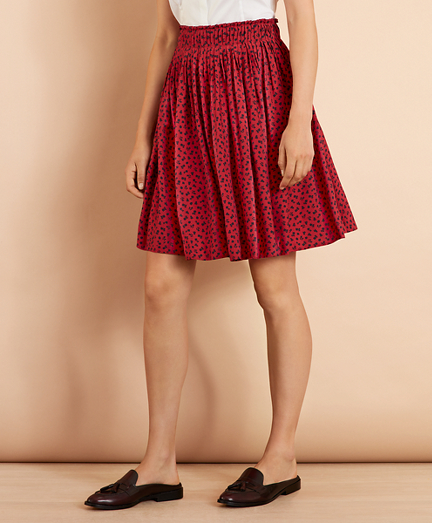 Floral-Print Dobby Pleated Skirt