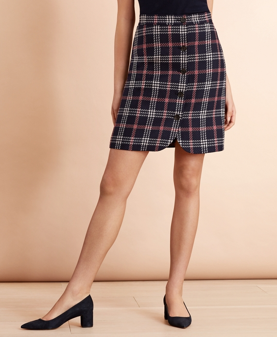 Plaid Wool-Blend Button-Front Skirt Navy