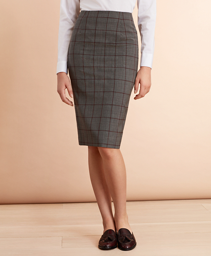 Plaid Stretch-Wool Pencil Skirt