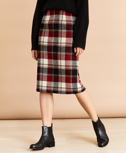 Plaid Wool Pencil Skirt