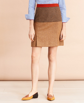 Patchwork Wool Tweed Skirt