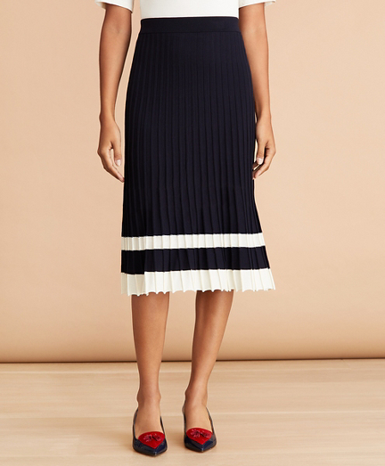Pleated Sweater Midi Skirt