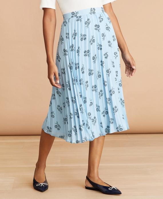 Floral-Print Pleated Skirt Blue