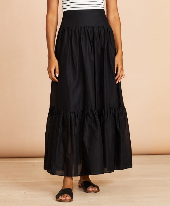 Flounced Cotton Maxi Skirt Black