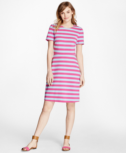 Short-Sleeve Striped Ponte Dress