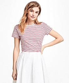 Textured-Stripe Stretch Cotton Jersey Tee Shirt