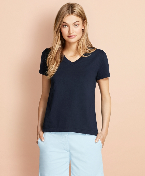 Garment-Dyed V-Neck T-Shirt Navy