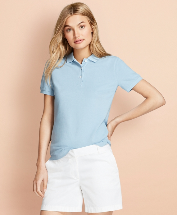 Garment-Dyed Pique Polo Light Blue