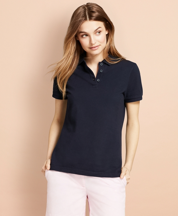 Garment-Dyed Pique Polo Navy