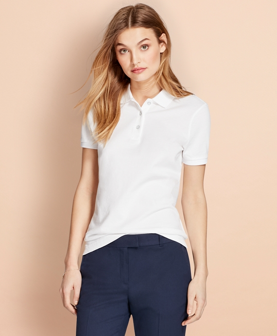 Garment-Dyed Pique Polo White