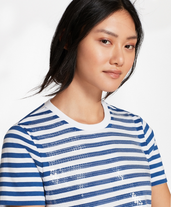 Sequin-Striped T-Shirt Blue-White