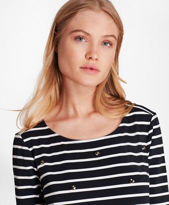 62a037d23d628 Crystal-Embellished Striped Three-Quarter-Sleeve T-Shirt