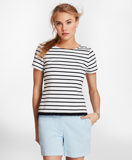 Fringe-Hem Striped Stretch Cotton Jersey T-Shirt