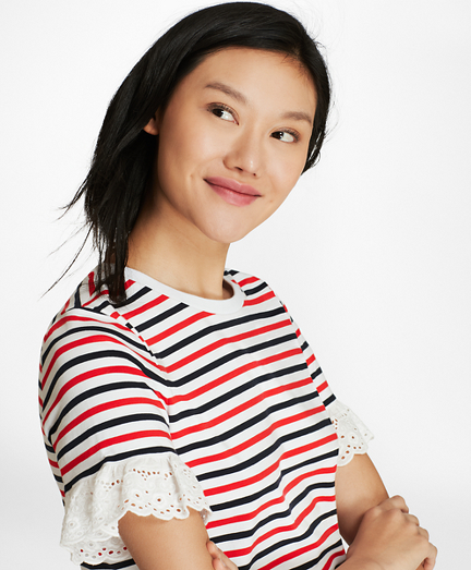 Eyelet-Trimmed Striped Cotton T-Shirt