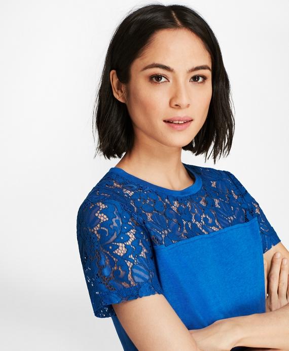 Lace-Yoke T-Shirt Blue