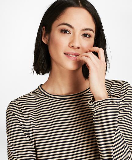 Ruffle-Cuff Striped Jersey Long-Sleeve T-Shirt