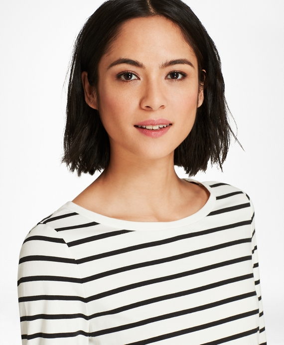 Striped Stretch-Cotton Jersey Long Sleeve T-Shirt White-Black