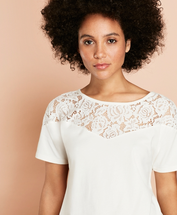 Lace-Yoke T-Shirt Off White