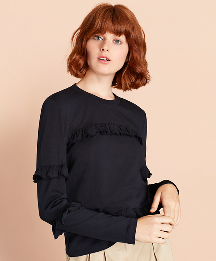 Ruffled Long-Sleeve T-Shirt