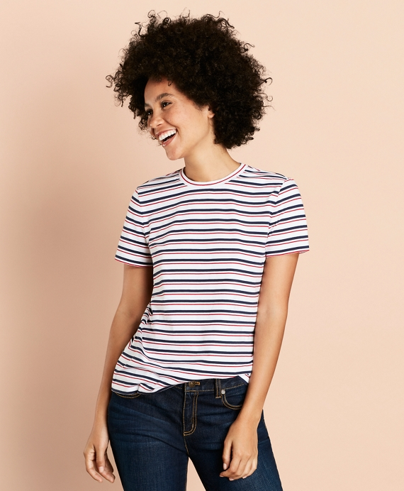 Striped Cotton T-Shirt White-Multi