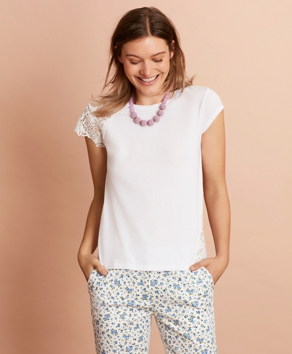 Floral Lace-Trimmed T-Shirt White