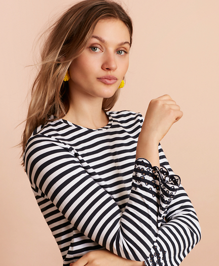 Floral-Embroidered Striped Long-Sleeve T-Shirt
