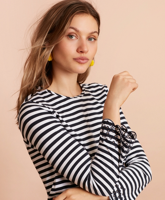 Floral-Embroidered Striped Long-Sleeve T-Shirt Navy-White