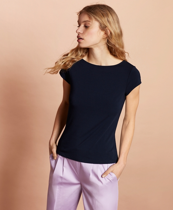 Ruched-Back Jersey Top Navy