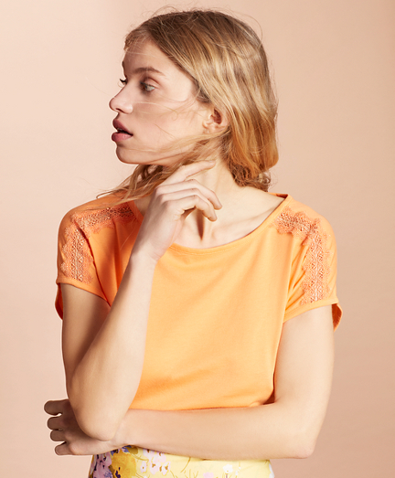 Lace-Trimmed Dolman-Sleeve T-Shirt