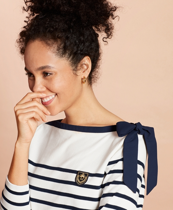Crest-Patch Striped Bateau-Neck Top White-Navy