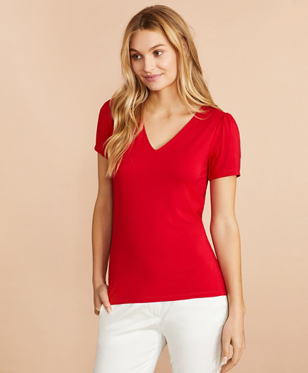 Puff-Sleeve V-Neck T-Shirt