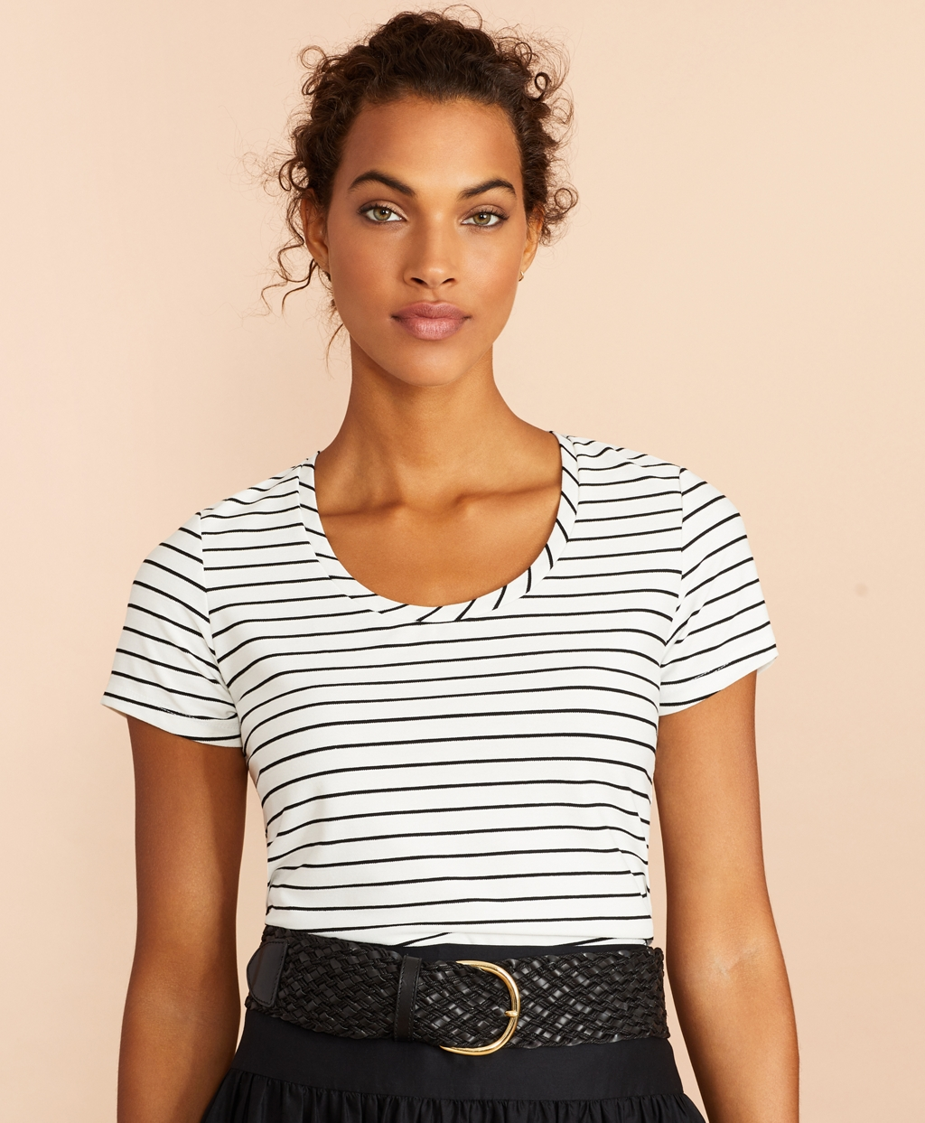 Sailor Dresses, Nautical Theme Dress, WW2 Dresses Brooks Brothers Womens Striped Scoop-Neck T-Shirt $38.00 AT vintagedancer.com