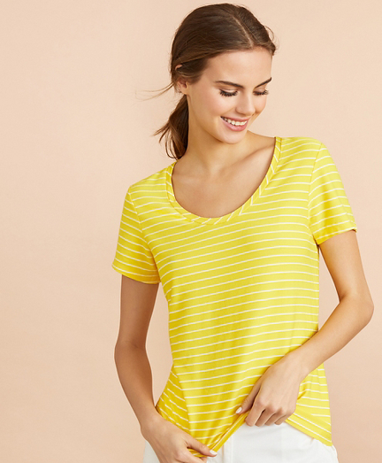 Striped Scoop-Neck T-Shirt