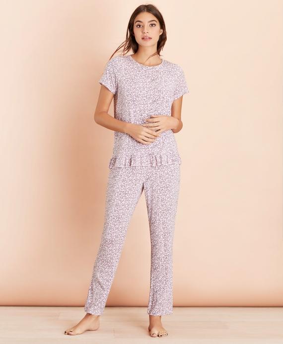 Floral-Print Jersey Pajama Set Pink