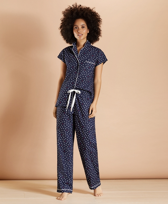 Heart-Print Supima® Cotton Poplin Pajamas Navy