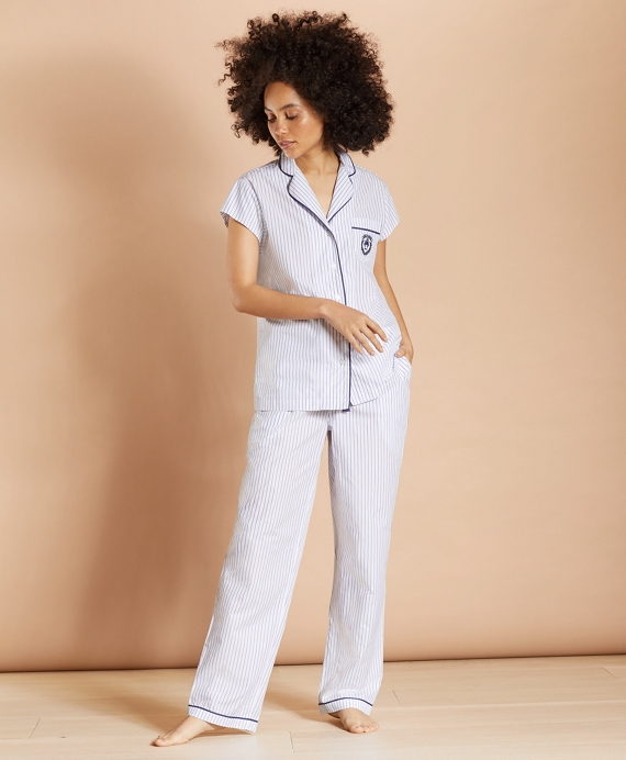 Striped Supima® Cotton Poplin Pajamas White-Blue