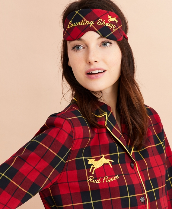 Tartan Cotton Twill Pajama & Eye-Mask Set Red-Black