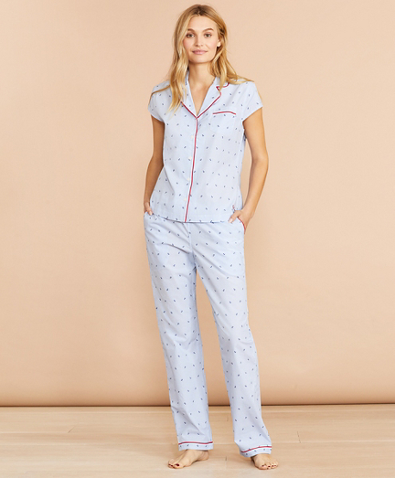 Anchor-Print Striped Cotton Pajamas