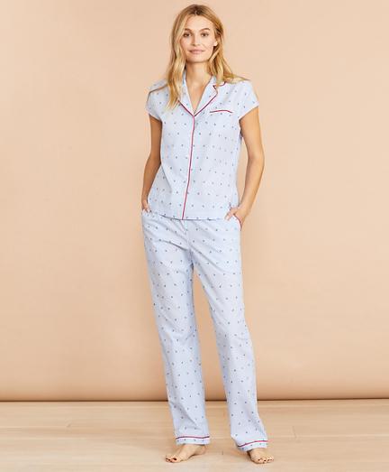 Anchor-Print Striped Cotton Pajamas