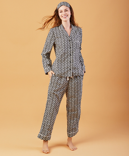 Airplane-Print Cotton Poplin Pajama & Eye-Mask Set