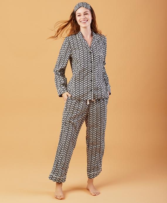 Airplane-Print Cotton Poplin Pajama & Eye-Mask Set Navy