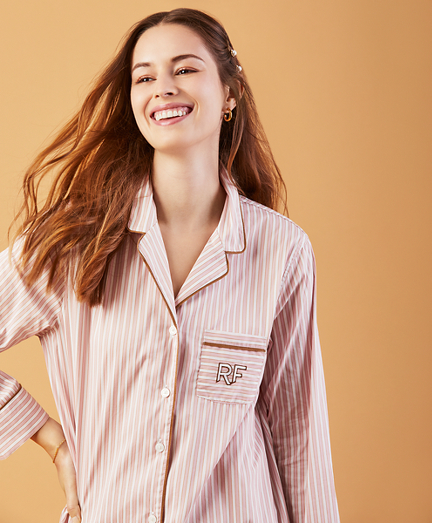 Striped Stretch-Cotton Dobby Sleep Shirt