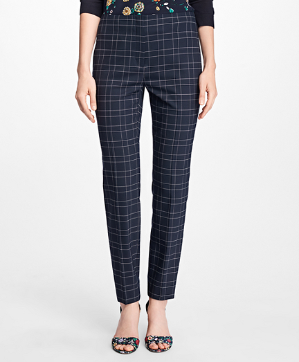 Windowpane Stretch Wool Hopsack Pants