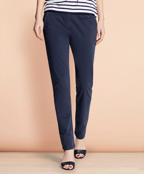 Stretch-Cotton Twill Pants Navy