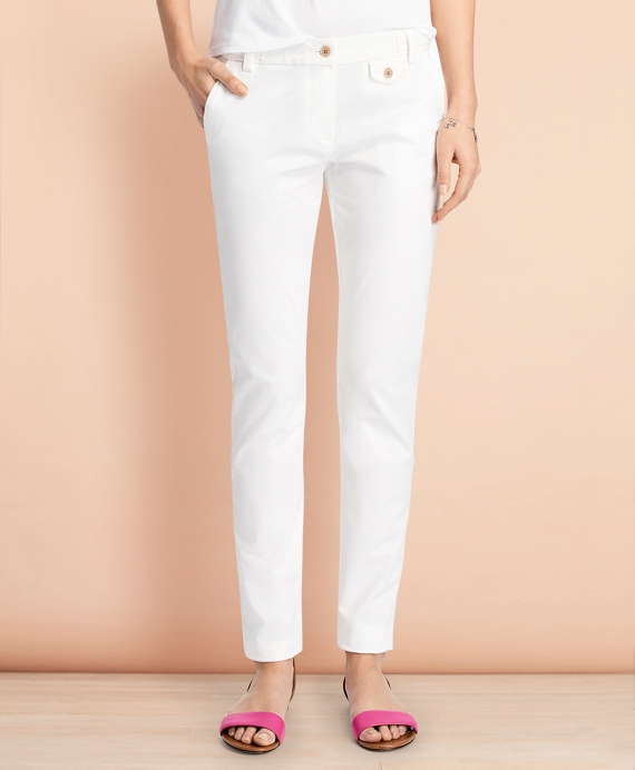 Stretch-Cotton Twill Pants White