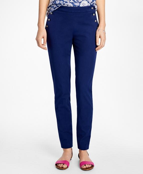 Wide-Leg Cotton Twill Sailor Pants Blue