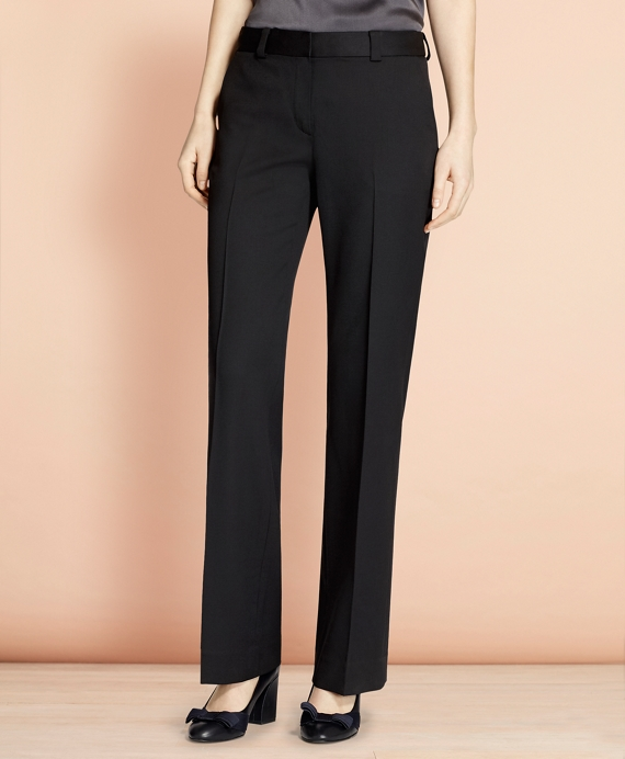 Wide-Leg Stretch Wool Trousers Black