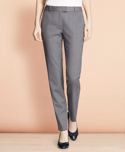 Brooksbrothers Tapered Pinstripe Stretch Wool Trousers