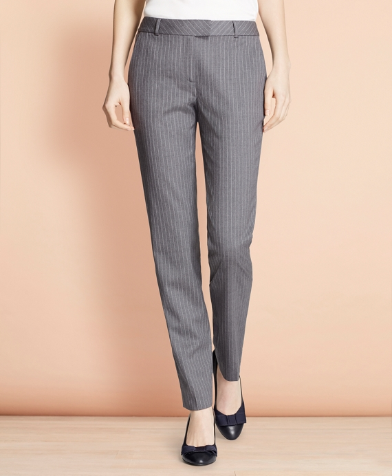 Tapered Pinstripe Stretch Wool Trousers Grey