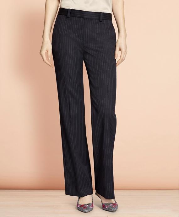 Wide-Leg Pinstripe Stretch Wool Trousers Navy